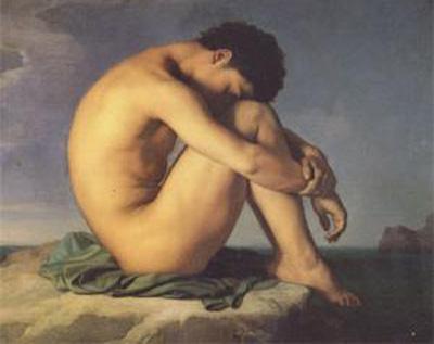 hippolyte-flandrin-jeune-homme-nu-assis-au-bor-de-la-mer